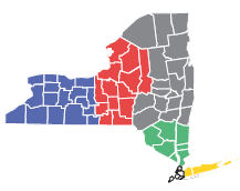 Map of new york state showing the 5 regions