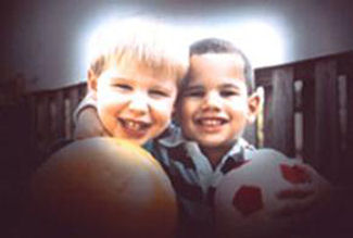 Two boys have vision with Glaucoma.