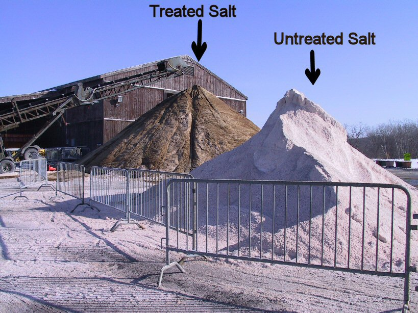 picture of treated and untreated salt piles