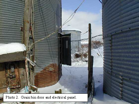 Photo of the grain bin door and electrical panel