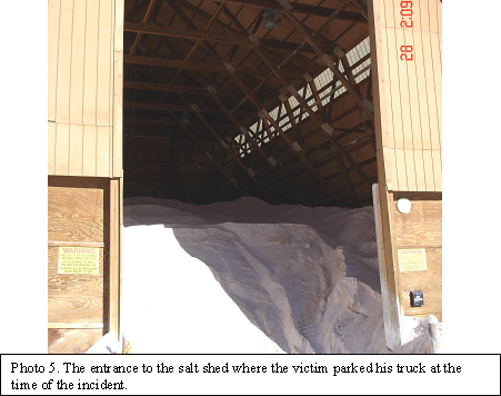 picture of the entrance to the salt shed where the victim parked his truck at the time of the incident