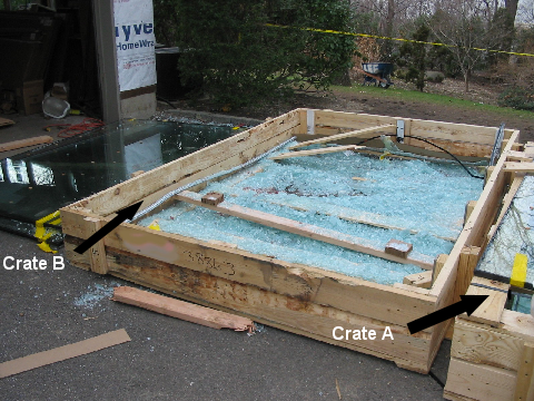 Photo 2 (courtesy of OSHA). Crate B was overcome by Crate A, fell on the victim, and crushed him.
