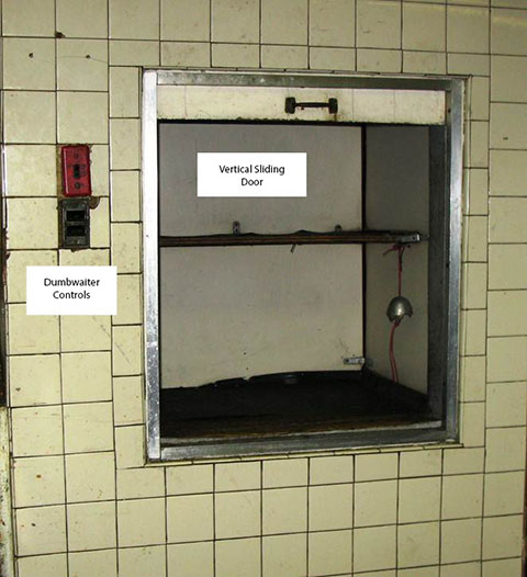 image showing hoistway opening and controls & Restaurant Co-owner Fatally Crushed by a Dumbwaiter Car (Case Report ...