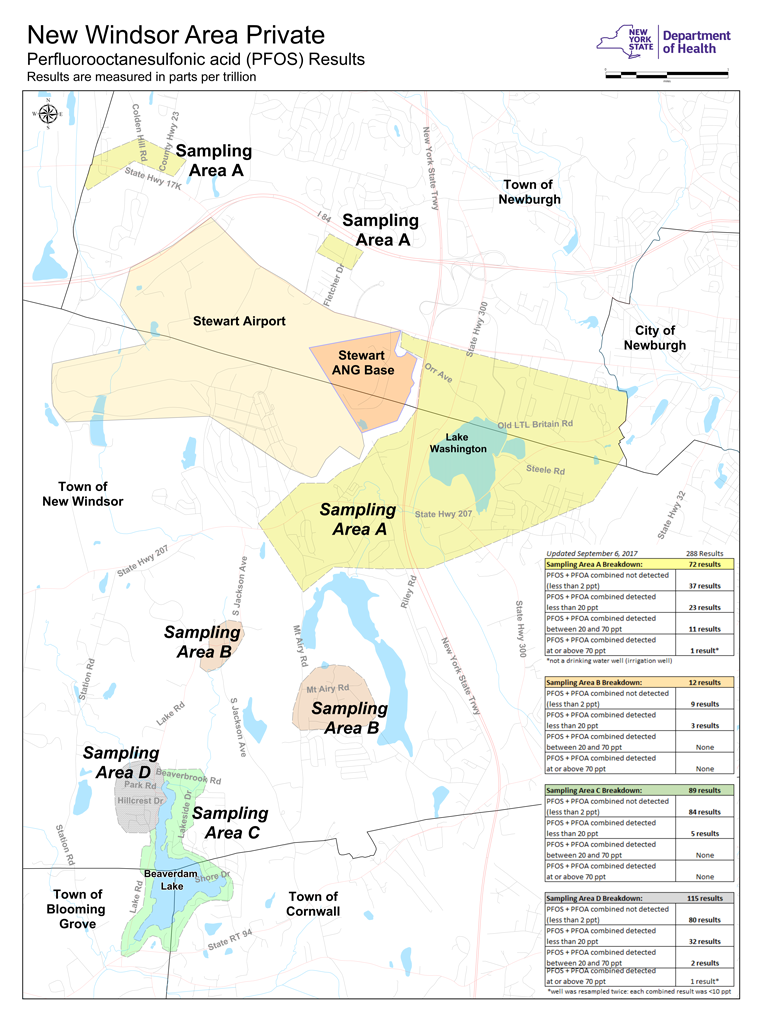 Newburgh New York Map.Pfos In Drinking Water In Newburgh Area
