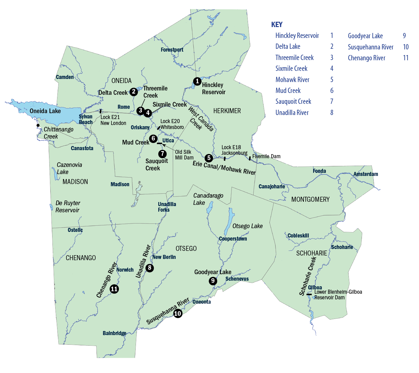 Map of the Leatherstocking/Central Region