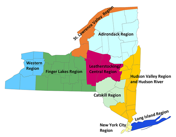 New York State map with fish advisory regions
