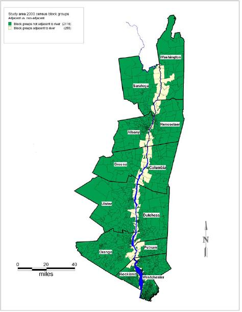 map of the Hudson River study area