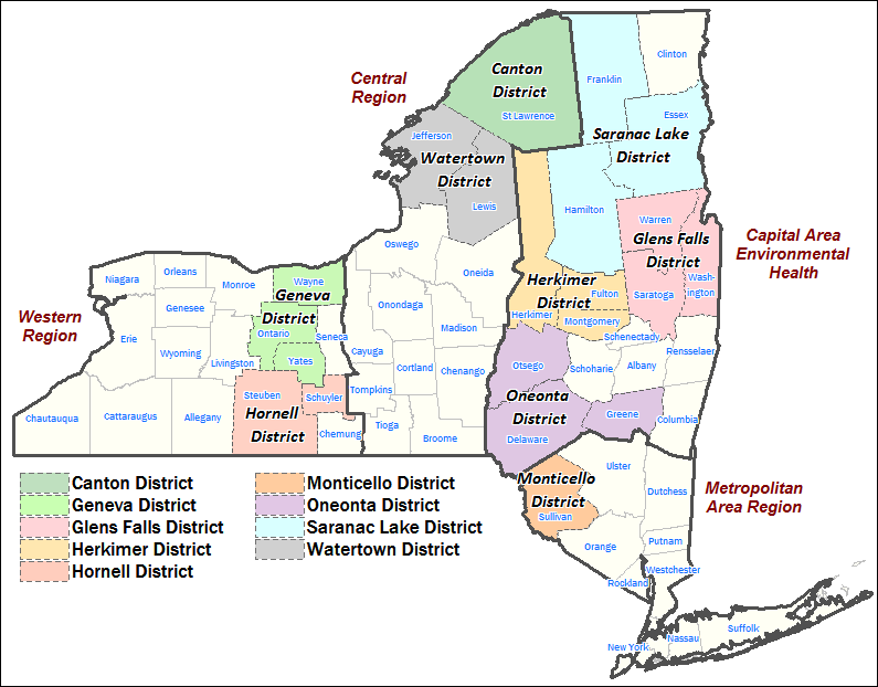Map Of New York State Counties Interactive Map: Regional, District and County Environmental