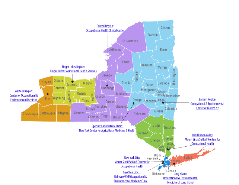 NYS Occupational Health Clinic Network - Map of state of new york