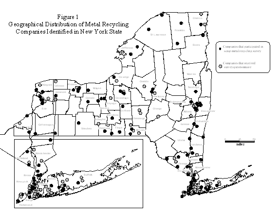 Figure 1 - Geographical Distribution of Metal Recycling Companies Identified in NYS