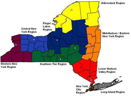 Location and Catchment Areas of the New York State Occupational Health Clinics