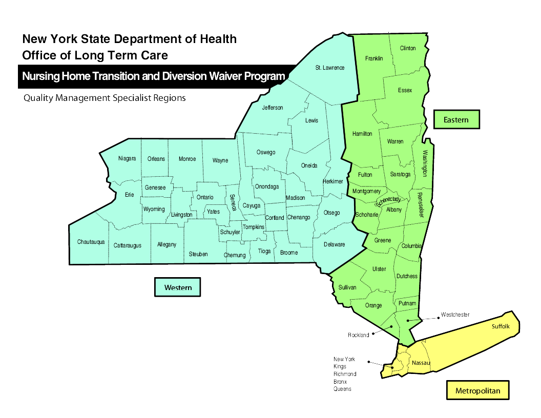 Nursing Home Transition and Diverson Waiver Program Map of Quality Management Specialist Regionss