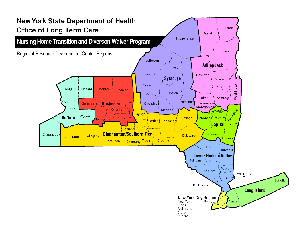 Nursing Home Transition and Diverson Waiver Program Map of Regional Resource Development Center Regions