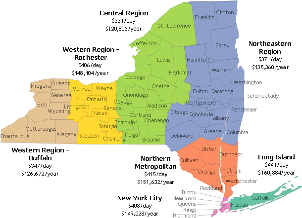 City Map Of New York State.Estimated Average New York State Nursing Home Rates