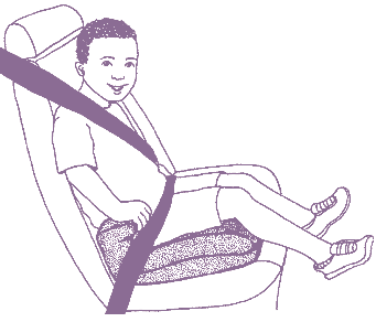A backless booster seats which does not have a back and can be used in vehicles where the seats have head rests or the seat cushion supports the head and neck.