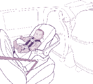 An infant-only child safety seat designed for rear-facing use only.