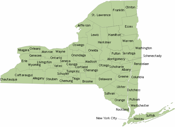 new york state map by county. New York State Map