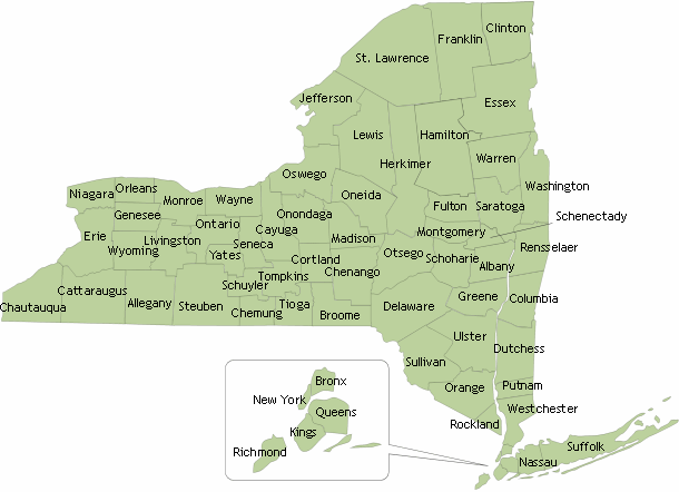 Map of counties in New York State