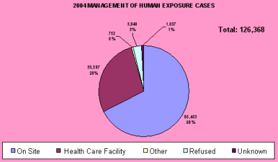 Chart showing how the cases were managed in 2004